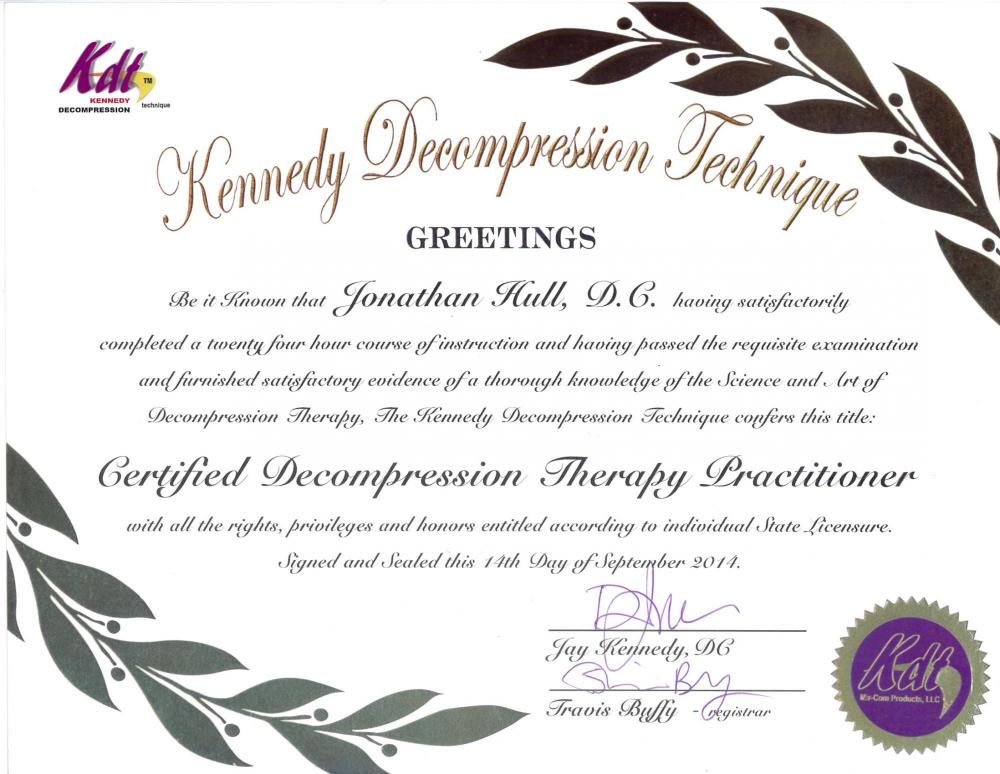 dr hull's certificate in kennedy decompression technique
